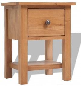 Nočný stolík, masívne dubové drevo, 36x30x47 cm, hnedý