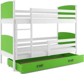 BMS Group Poschodová posteľ TAMI - pre dvoch so zásuvkou - BIELA