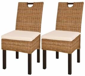 vidaXL Jedálenské stoličky, 2 ks, ratan kubu a mangové drevo