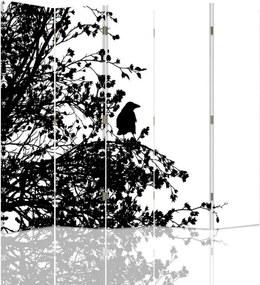 CARO Paraván - Black And White Bird   päťdielny   obojstranný 180x180 cm
