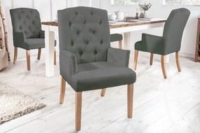 Dizajnová stolička s podrúčkami Queen svetlosivá