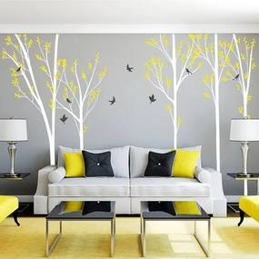 lovel.sk Nálepky na stenu Nature - strom+vtáčiky