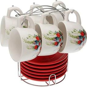 Set 6 čajových šálok s podšálkami so stojančekom VERSA Flower
