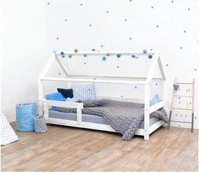 Biela detská posteľ s bočnicami zo smrekového dreva Benlemi Tery, 80 × 160 cm