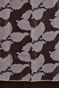 Silonový záves so vzorom listov - biely (150x250 cm)