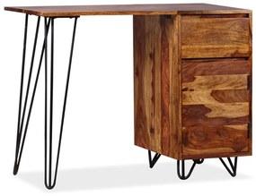 vidaXL Písací stôl s 1 zásuvkou a 1 skrinkou, masívne sheesamové drevo