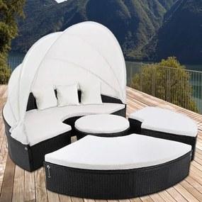 Ratanová záhradná posteľ ISLAND DEU XXL čierna 185 cm