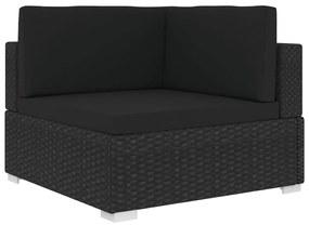 vidaXL Rohová sedačka 1 ks s podložkami, polyratan, čierna