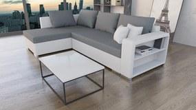 Moderná sedacia súprava Clever, biela / sivá