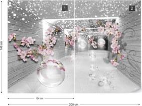Fototapeta GLIX - 3D Tunnel Flowers Sparkles Bubbles + lepidlo ZADARMO Vliesová tapeta  - 254x184 cm