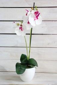 Umelá orchidea v črepníku - bielo-fialová (v. 51,5 cm) - moderný štýl