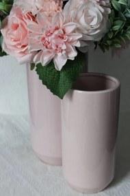 Ružová keramická okrúhla váza 25 cm