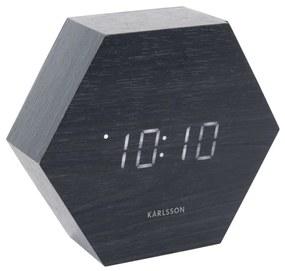 KARLSSON Čierny budík Hexagon