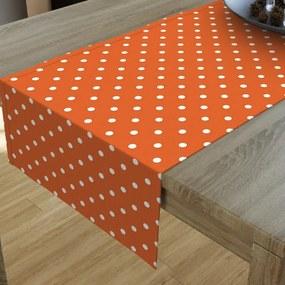 Goldea dekoračný behúň na stôl loneta - vzor biele bodky na oranžovom 20x160 cm