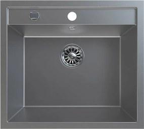SAPHO - Dřez granitový vestavný mono, 57x51 cm, šedá (GR1003