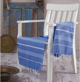 Modrá bavlnená osuška Hammam Sultan, 100 × 180 cm