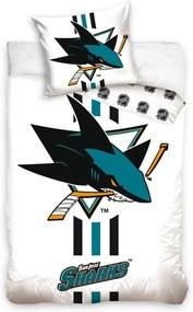 BedTex Bavlnené obliečky NHL San Jose Sharks White, 140 x 200 cm, 70 x 90 cm