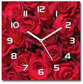 Sklenené hodiny štvorec Červené ruže pl_zsk_30x30_f_67561194