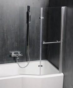 POLYSAN - ODESSA pneumatická vanová zástěna 970 mm, stříbrný rám, čiré sklo (37127)