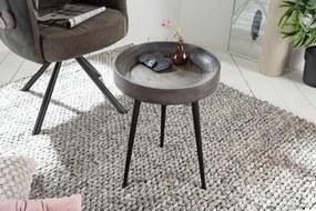 IIG -  Elegantný stolík PURE NATURE 35 cm akátový šedý s čiernymi nohami
