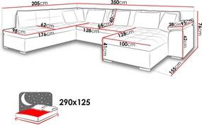 Luxusná sedacia súprava Kalla, biela / sivá Roh: Orientace rohu Levý roh