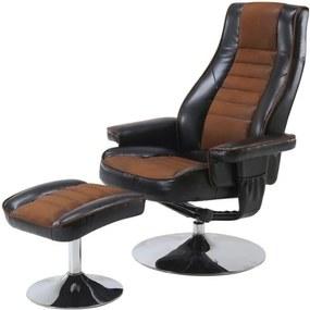 Sconto Relaxačné kreslo s taburetom HILDERS hnedá/čierna