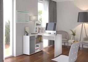 Pracovný písací stôl Cansa biela / sivá
