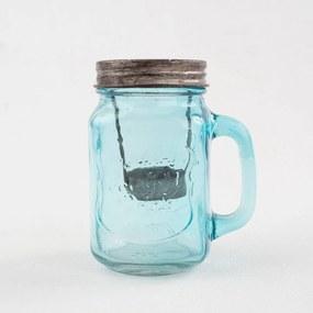 Modrý sklenený svietnik Dakls, výška 13,5 cm