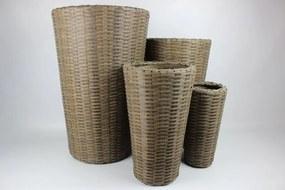 Hnedé okrúhle plastové ratanové kvetináče 4-set