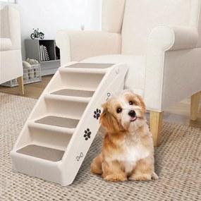 vidaXL Skladacie schody pre psa krémové 62x40x49,5 cm