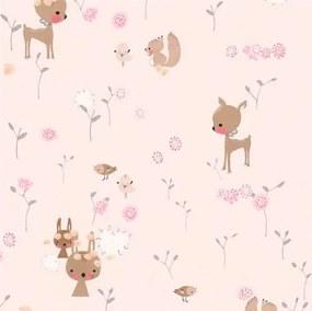 Papierové tapety na stenu Boys & Girls 36988-3, lesné zvieratká na ružovom podklade, rozmer 10,05 m x 0,53 m, Grandeco