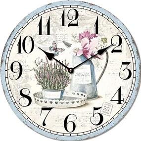 Isabelle Rose Drevené nástenné hodiny s levanduľou 29 cm