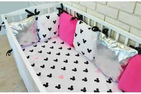 Baby Nellys Vankúšikový mantinel s obliečkami Shine, 135x100 - Mickey, růžová Baby Nellys 100758