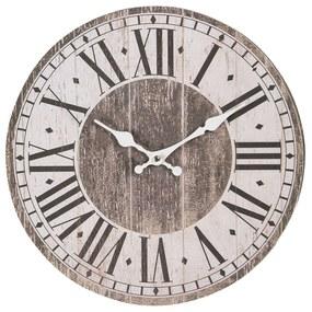 Drevené hodiny s rímskymi číslicami a patinou - Ø 34 * 4 cm / 1 * AA