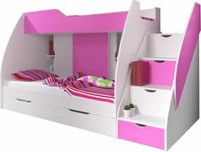 Poschodová posteľ Mango ružová 200x120