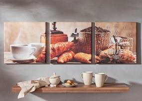 Trio obrazov Káva s hodinami
