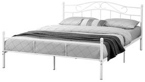 [en.casa]® Kovové lôžko - francúzska posteľ - 200 x 160 cm - biela