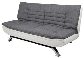 Dizajnová rozkladacia sedačka Alun, 196 cm, svetlosivá / biela