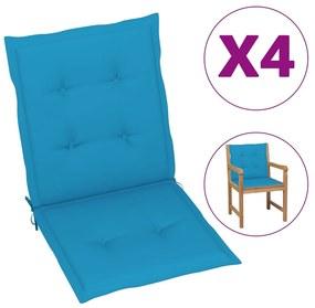 vidaXL Podložky na záhradné stoličky 4 ks modré 100x50x3 cm