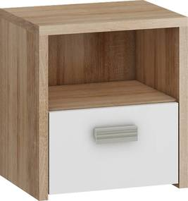 MEBLOCROSS Kitty KIT-12 nočný stolík sonoma svetlá / biela