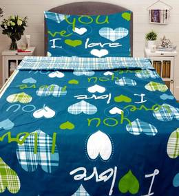 Home of Dreams Obliečky Love you Modré Bavlna 40x50 70x90 140x200 cm