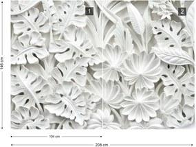 Fototapeta GLIX - Vintage 3D Carved Flowers White + lepidlo ZADARMO Vliesová tapeta  - 254x184 cm