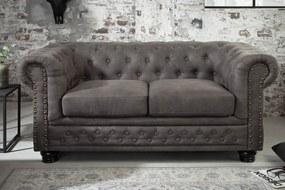 Dizajnová dvojsedačka Chesterfield II 150 cm sivá antik