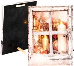 Obraz s led svetlom zimné okno