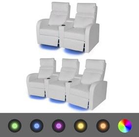 vidaXL Dvoj-dielna súprava, sklápacie 2 a 3-miestne kreslo s LED osvetlením, umelá koža, biele (243595+243597)