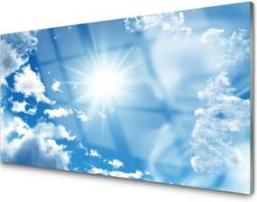 Sklenený obklad Do kuchyne Slnko Mraky nebo modré