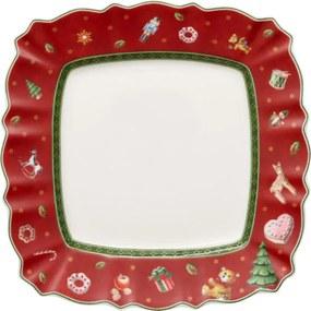 Červený hranatý dezertný tanier 22 cm Toy's Delig.