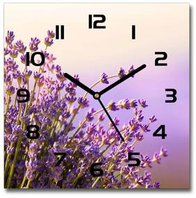 Sklenené nástenné hodiny štvorec Levanduľa pl_zsk_30x30_f_48533046
