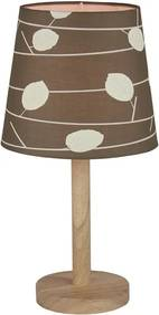 Stolná lampa, drevo/látka vzor listy, QENNY TYP 6 LT6026