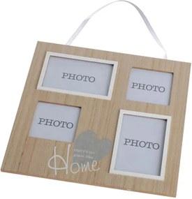 Drevený fotorámik na štyri fotky na zavesenie 33,5×33,5×1,2 cm